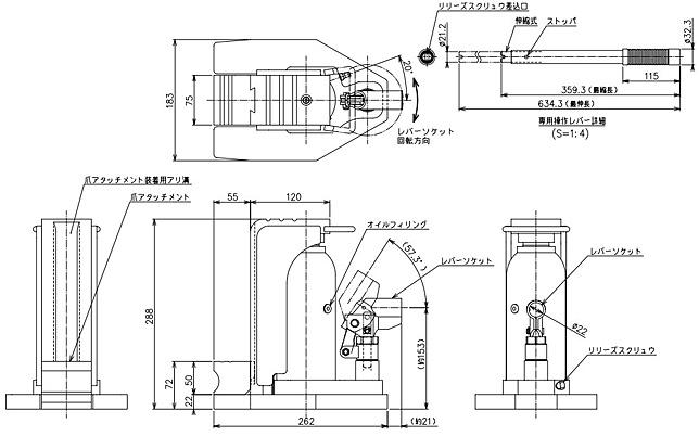 gu-100鹰牌爪式千斤顶结构尺寸图片